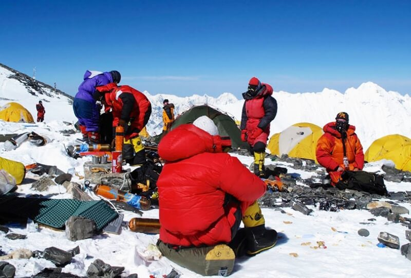 Everest team at South col, ready for the summit